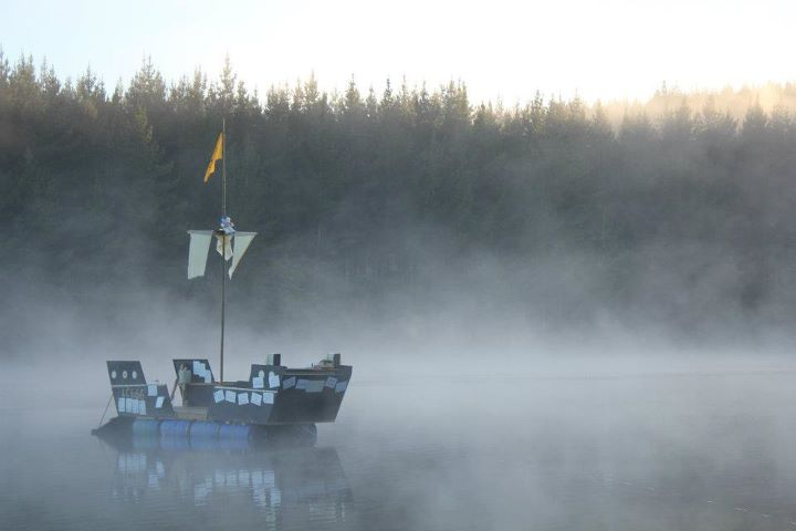home made Pirate ship on a hazy lake